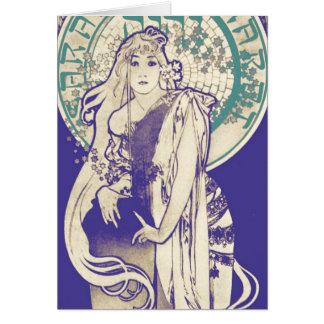 Kvinna Bernhardt för teater för vintageMucha art OBS Kort