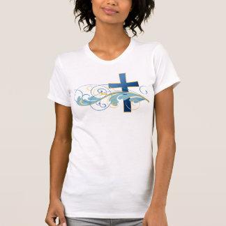 Kvinna blåttkor med virvlar runt designT-tröja Tshirts