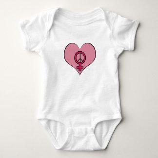 Kvinna dräkt för baby för hjärta för t-shirts