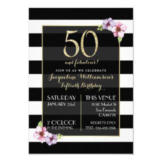 Kvinna femtio & sagolika   moderna blommigtrandar 12,7 x 17,8 cm inbjudningskort