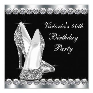 Kvinna födelsedagsfest för elegantsvart fyrkantigt 13,3 cm inbjudningskort