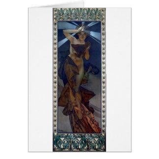 kvinna för affisch för art nouveau för muchamorgon hälsningskort