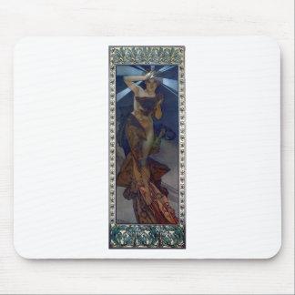 kvinna för affisch för art nouveau för muchamorgon mus matta