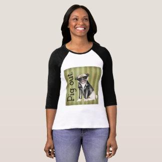 Kvinna för Bella kanfas för gris T-tröja för T-shirts