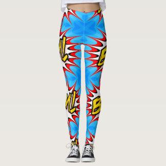 kvinna för blåtttecknadsmäll damasker leggings