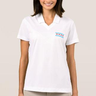 Kvinna för Chicago hjärtaflagga skjorta för Polo Tenniströja
