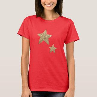 Kvinna för Fauxglitterstjärnor | röda T-tröja Tshirts