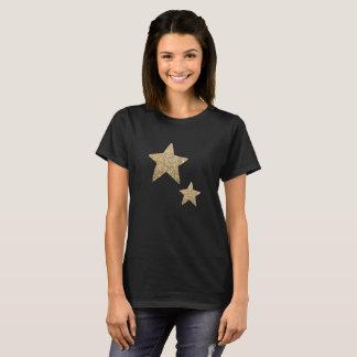 Kvinna för Fauxglitterstjärnor | svart T-tröja Tee Shirts