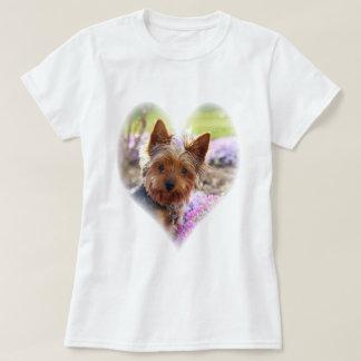 Kvinna för foto för Yorkshire Terrier Tee Shirt