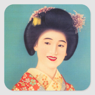 Kvinna för Geisha för vintagekvinnor japansk Fyrkantigt Klistermärke