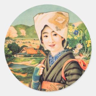 Kvinna för Geisha för vintagekvinnor japansk Runt Klistermärke