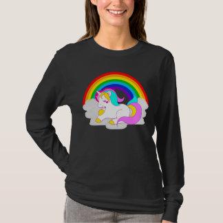 Kvinna för regnbåge för vitUnicornmoln långärmad Tee