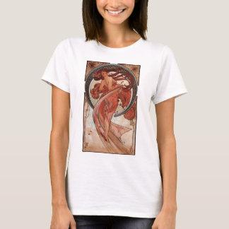 Kvinna för vintageart nouveaudans tee shirts