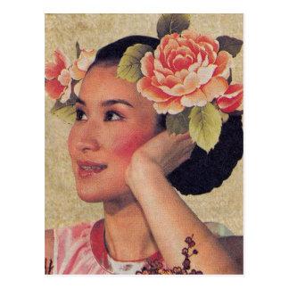 Kvinna för vintageillustrationkines vykort