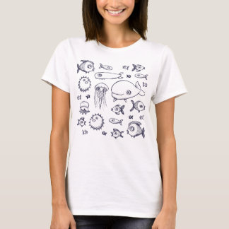 Kvinna för vit- och marinfiskteckning T-tröja T-shirts