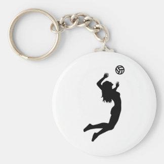 Kvinna för volleybollbanhoppningflicka rund nyckelring