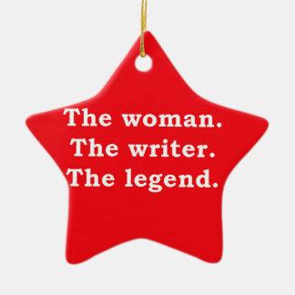 Kvinna - författare - legend julgransprydnad keramik