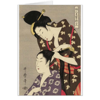 Kvinna friseringUtamaro Yuyudo Ukiyo-e konst Hälsningskort