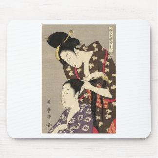Kvinna friseringUtamaro Yuyudo Ukiyo-e konst Musmatta