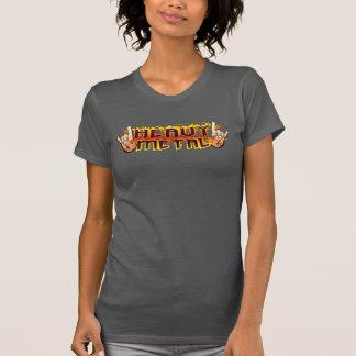 KVINNA heavy metal avfyrar Hornsskjortan Tshirts