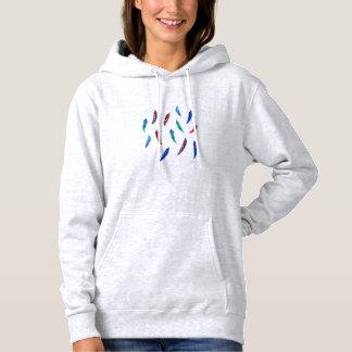 Kvinna hooded tröja med fjädrar