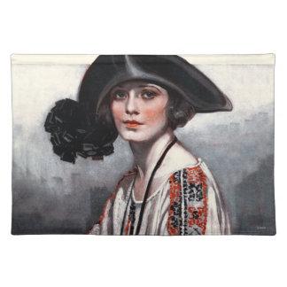 Kvinna i broderad blus bordstablett
