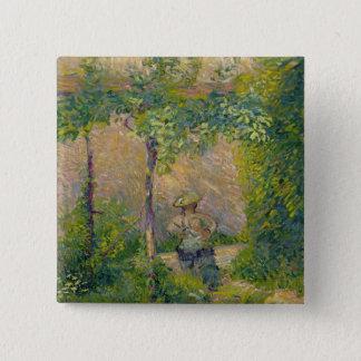 Kvinna i det trädgårds- (olja på kanfas) standard kanpp fyrkantig 5.1 cm