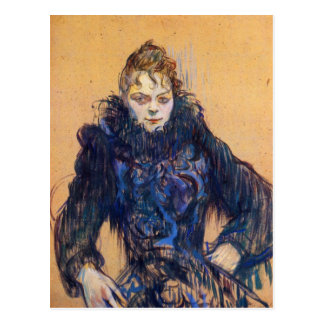 Kvinna i en svart boa vid Toulouse-Lautrec Vykort