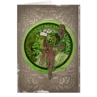 Kvinna i grönt - LAGRAR Hälsningskort