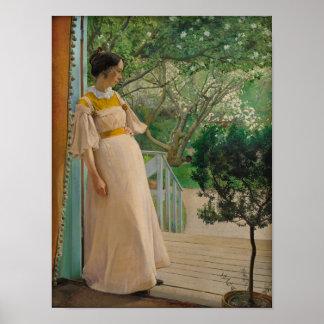 Kvinna i trädgårds- Cardstock affisch för