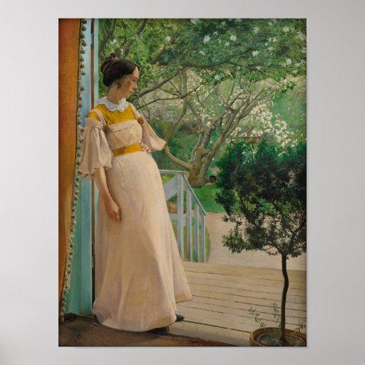Kvinna i trädgårds- Cardstock affisch för dörröppn