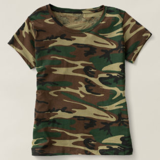 Kvinna kamouflageT-tröja T-shirts