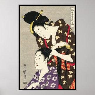 Kvinna konst för friseringUtamaro Yuyudo ukiyo-e Poster