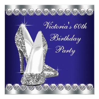 Kvinna kunglig födelsedagsfest för blått 60th fyrkantigt 13,3 cm inbjudningskort