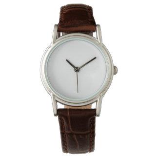 Kvinna läder för klassikerbruntet fäster klockan armbandsur