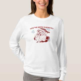 Kvinna långärmad Santa har du varit stygg Tshirts