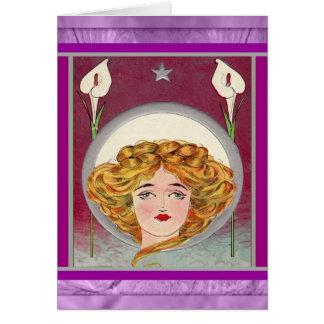 Kvinna & liljar för påsk~-art nouveau hälsningskort