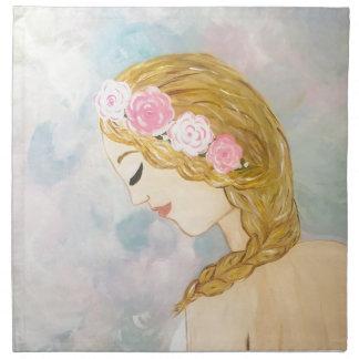 Kvinna med blommor i henne hår tygservett