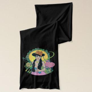 Kvinna med en blåsångareScarf Sjal