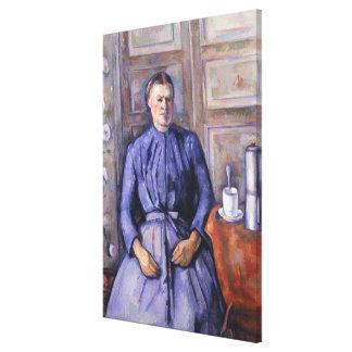 Kvinna med en kaffekruka, c.1890-95 canvastryck
