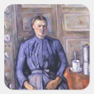 Kvinna med en kaffekruka, c.1890-95 fyrkantigt klistermärke