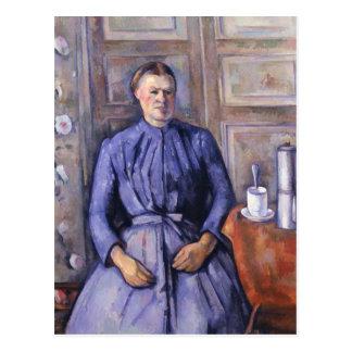 Kvinna med en kaffekruka, c.1890-95 vykort