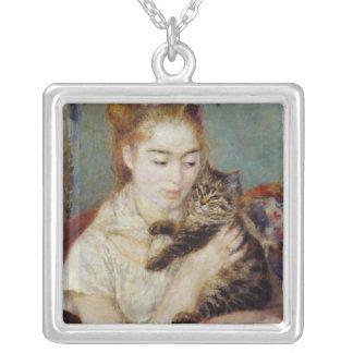 Kvinna med en katt vid Pierre-Auguste Renoir Silverpläterat Halsband
