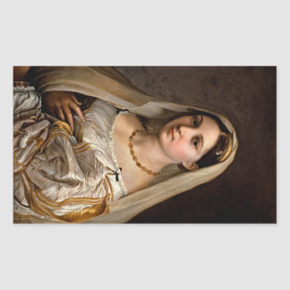 Kvinna med en skylaLaDonna Velata Raphael Santi Rektangulärt Klistermärke