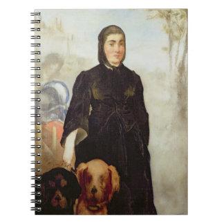 Kvinna med hundar 1858 olja på kanfas antecknings bok