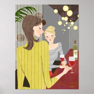Kvinna med vin poster