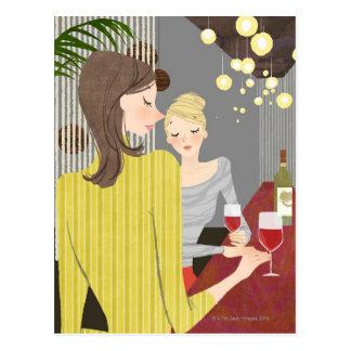 Kvinna med vin vykort