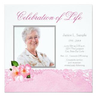 Kvinna meddelande för fotominnesgudstjänst fyrkantigt 13,3 cm inbjudningskort