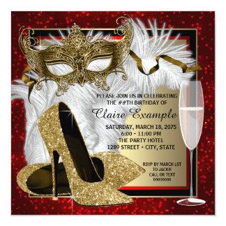 Kvinna röda och guld- maskeradfödelsedagsfest fyrkantigt 13,3 cm inbjudningskort