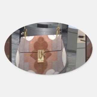 Kvinna roligt för läder för plånbok för ovalt klistermärke